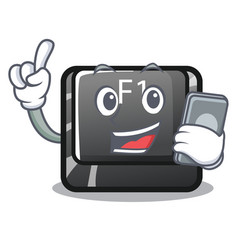 with phone button f1 isolated in mascot vector image