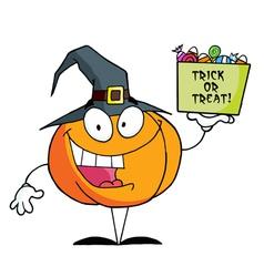 Cartoon Character Pumkin A Bag Of Candy vector image