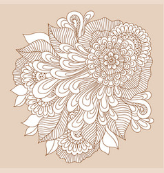 doodle art floral composition henna tattoo vector image vector image