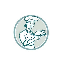 Female Chef Serving Chicken Roast Circle Retro vector image vector image