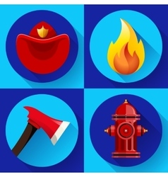 Firefighter icons elements set vector image vector image