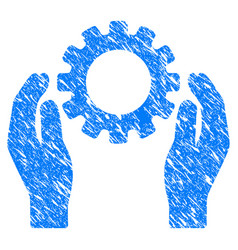 Gear care hands grunge icon vector