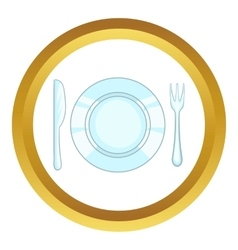 Plate with knife and fork icon vector image