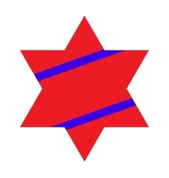 Red Jewish Star with Blue Stripes on White vector image