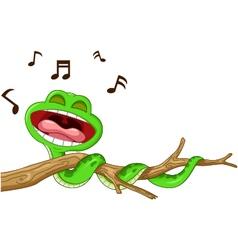 snake cartoon singing vector image vector image