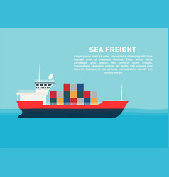 transport cargo sea ship with containers sea vector image