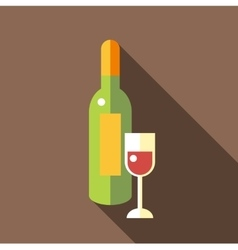 Bottle of wine with glass icon flat style vector image vector image