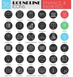 finance banking circle white black icon set vector image