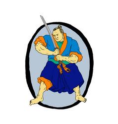 samurai warrior katana enso vector image