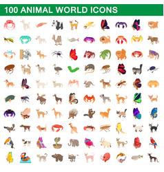 100 animal world set cartoon style vector image