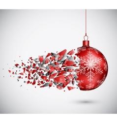 Broken red Christmas ball vector image
