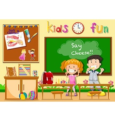 Children being happy in classroom vector image vector image