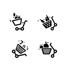 Damage shopping cart icons vector