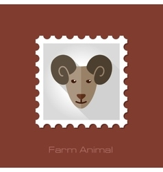 Sheep flat stamp Animal head vector image