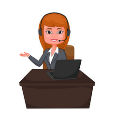 Business woman a customer support with headphones vector