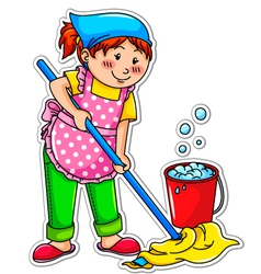 cleaning girl vector image vector image