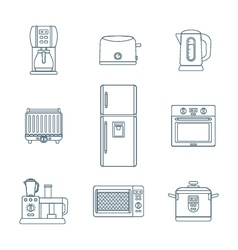 dark outline various kitchen devices set vector image vector image