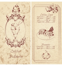 Desserts menu template vector image vector image