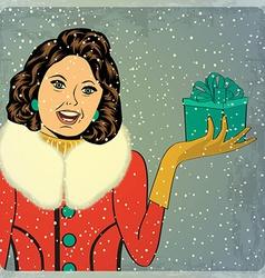 elegant young and happy woman in winter retro vector image vector image