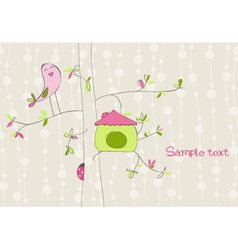 greeting card with bird house vector image