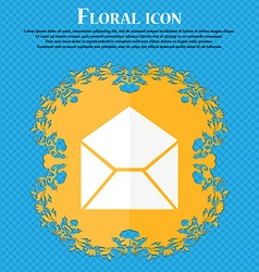Mail envelope icon Floral flat design on a blue vector image