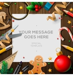 Merry Christmas wish list letter for Santa Claus vector image vector image