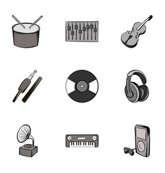 singing icons set gray monochrome style vector image
