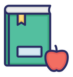 Apple with book outline fill with color isolated vector