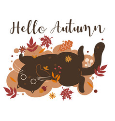 Autumn cat and inscription hello vector