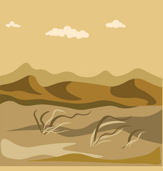 Autumn in desert with sand hills and yellow grass vector