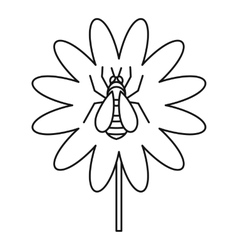 Bee on flower icon outline style vector