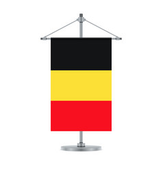 belgian flag on the metallic cross pole vector image