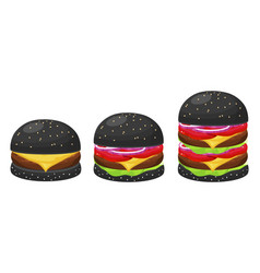 black hamburgers set vector image