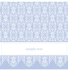 Blue card or invitation with classic floral lace vector image