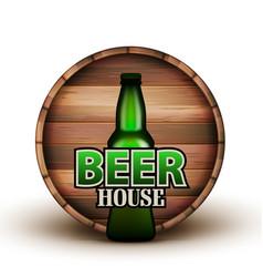 bottle of beer and wooden barrel banner vector image