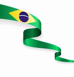 Brazilian flag wavy abstract background vector