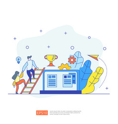 Business concept with stair trophy cup and tiny vector
