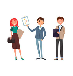 Business plan presentation working woman and man vector