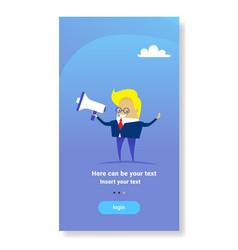Businessman hold megaphone leader advertising vector