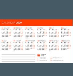 calendar design template for 2020 year week vector image