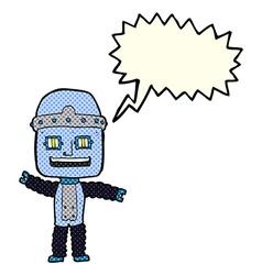 Cartoon waving robot with speech bubble vector