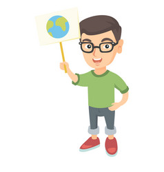 Caucasian boy holding a placard with planet vector