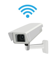 cctv security surveillance camera and wi-fi symbol vector image