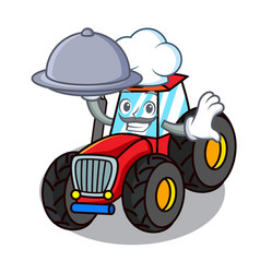 Chef with food tractor mascot cartoon style vector