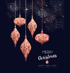 christmas and new year copper low poly card vector image