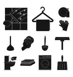 cleaning and maid black icons in set collection vector image