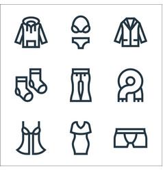 Clothes line icons linear set quality line set vector