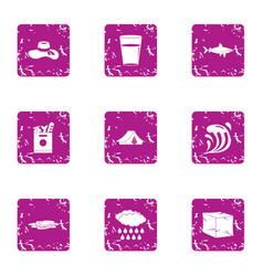 Coastal icons set grunge style vector