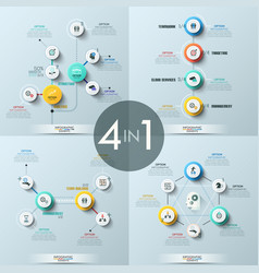 Collection 4 modern infographic design vector
