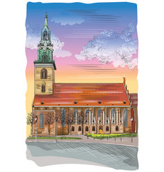 colorful church of st mary in berlin vector image